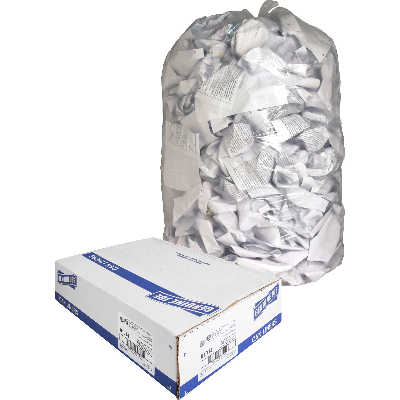 Genuine Joe, GJO01014, Clear Trash Can Liners, 100 / Box, Clear, 60 gal
