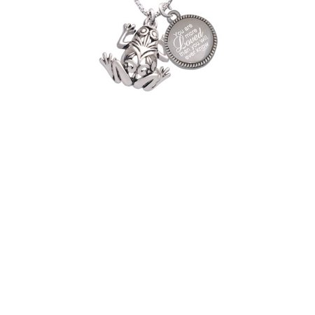 Silvertone Large Filigree Frog You Are More Loved Than You Will Ever Know Engraved Necklace - Frog Necklace