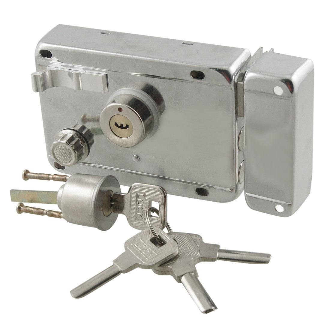 Office Home Silver Tone Left Hand Door Locks with keys Deadbolt Rim