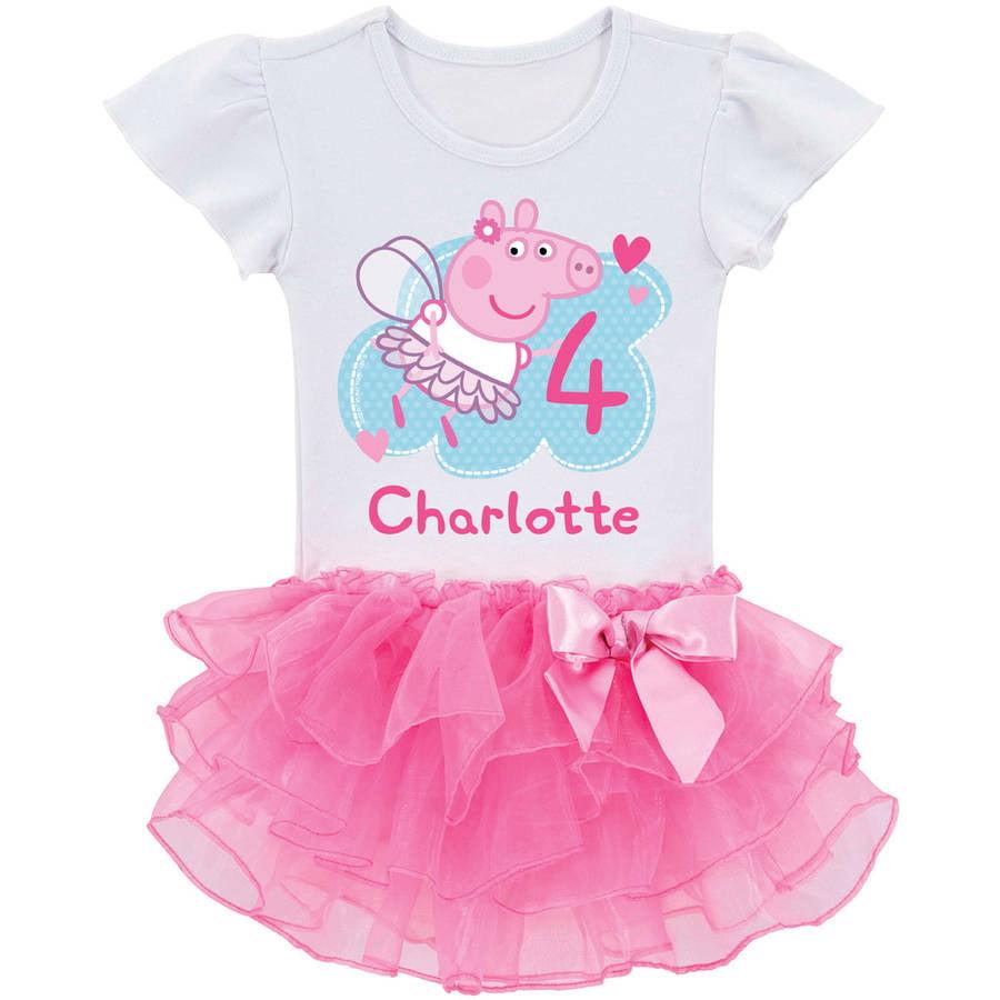 Personalized Peppa Pig Toddler Girls' Birthday Fairy Tutu T-Shirt by Generic