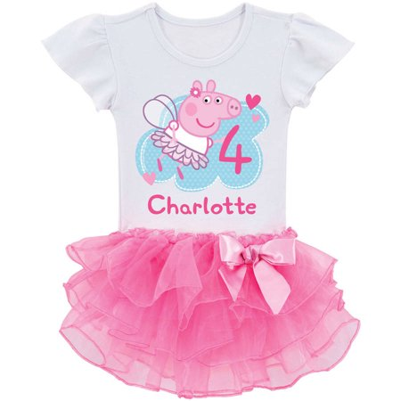 Personalized Peppa Pig Toddler Girls Birthday Tutu T-Shirt -2T, 3T, 4T, 5/6T