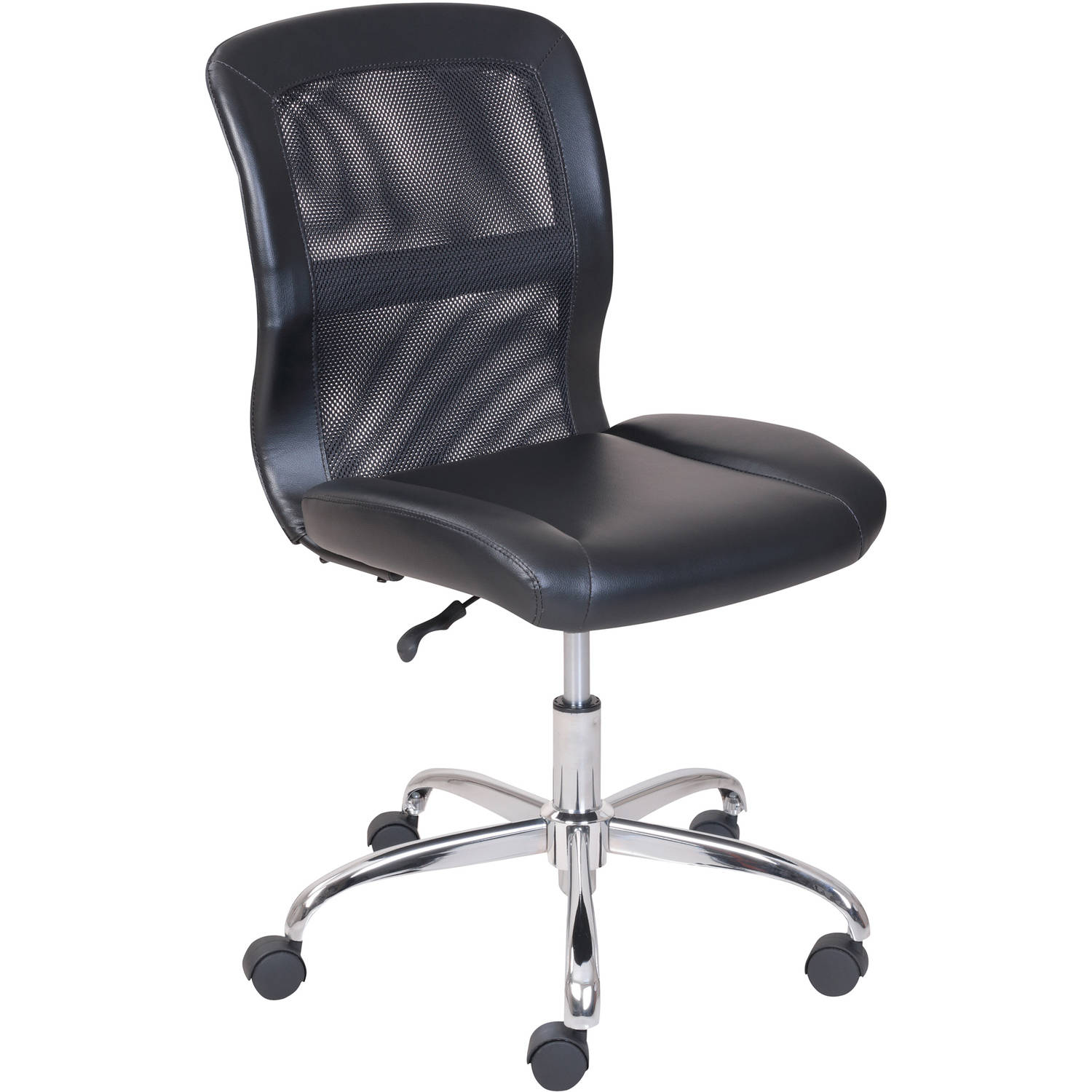 Details About Mainstays Vinyl Mesh Executive Armless Back Office Computer Desk Chair Black