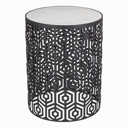 Mainstays Lanessa Round Metal Patio Side Table with Marble Top ()