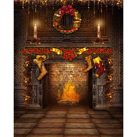 GreenDecor Polyster 5x7ft Christmas Gift of Sock and Candle on Fireplace Photo Backgrounds Grey Brick Floor Photography Backdrops for Children On Fire Photo