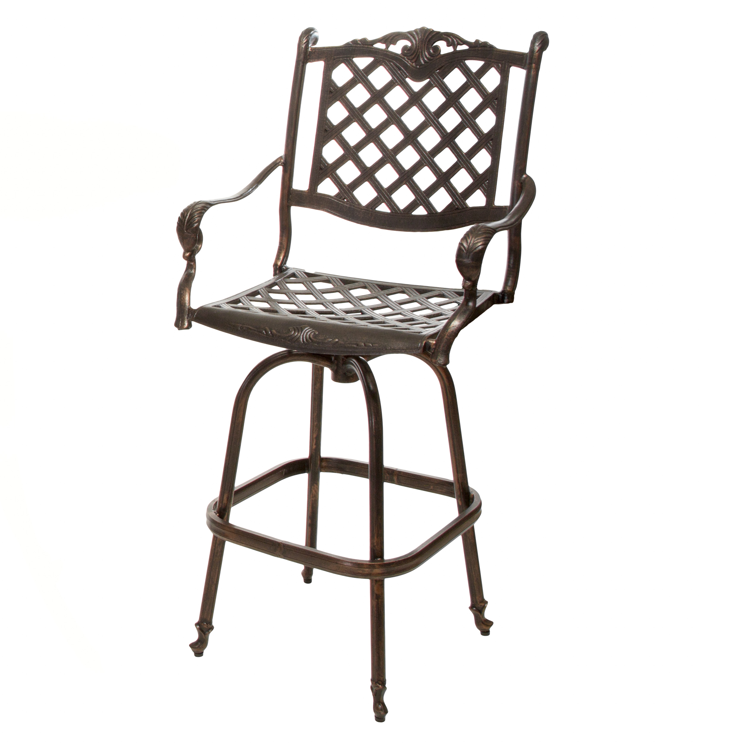 Reed Cast Aluminum Copper Outdoor Bar Stool