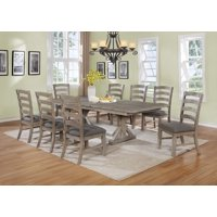 9pc Wood Dining Set Gray or Beige