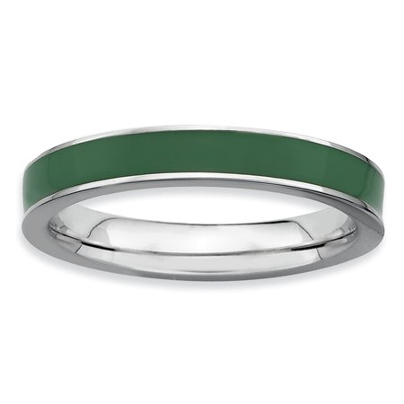 Sterling Silver Stackable Expressions Green Enameled 3.25mm Ring Size 7 - image 2 of 3