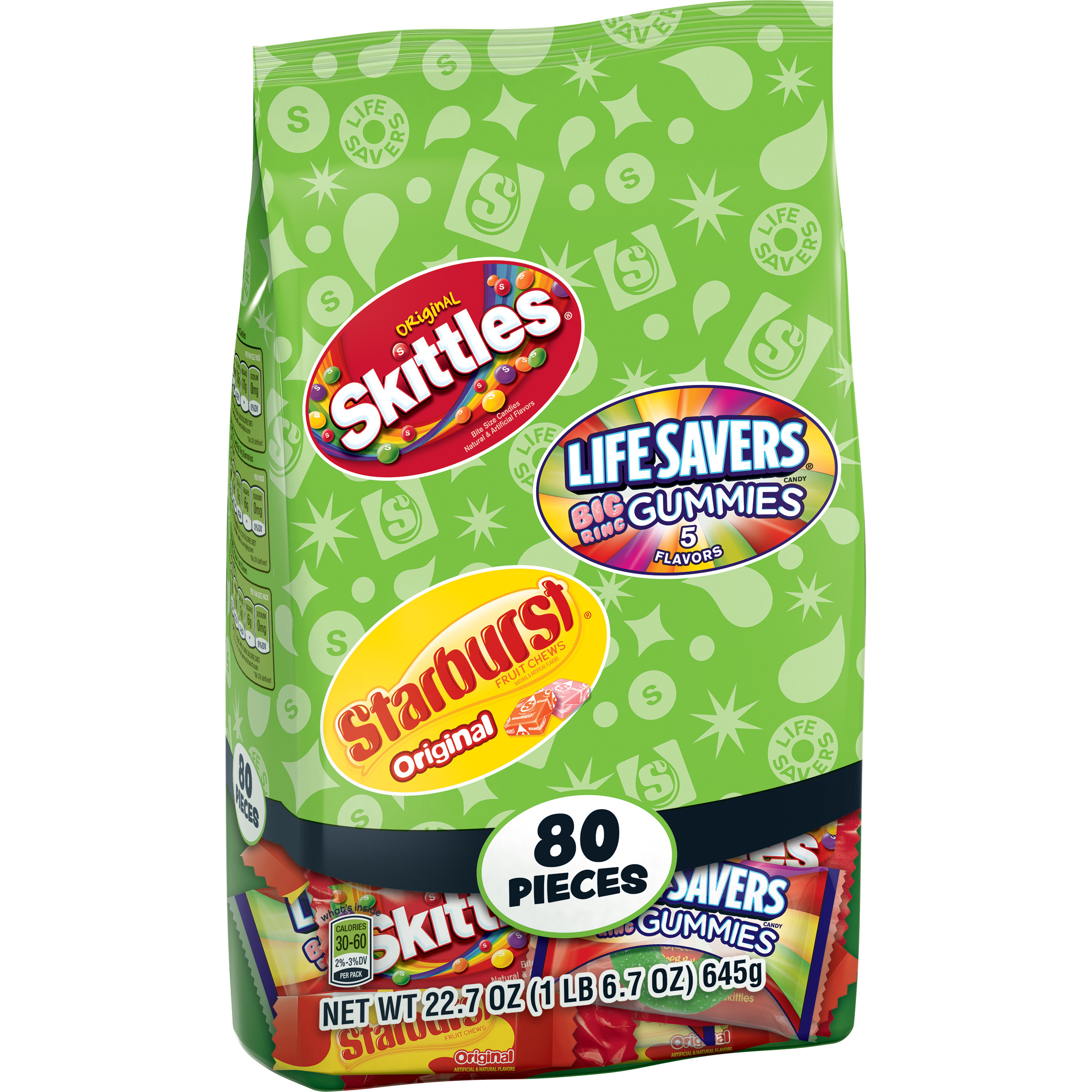 (2 Pack) Skittles, Starburst & Life Savers Fruity Candy, Fun Size Variety Mix Oz, 22.7-Oz 80 Pieces