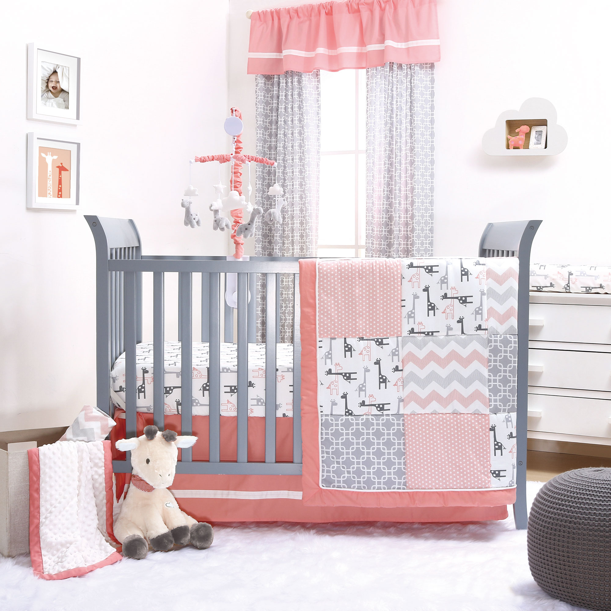The Peanut Shell 3 Piece Baby Crib Bedding Set - Uptown Girl Coral and Grey Giraffe Patchwork - 100% Cotton Fabrics