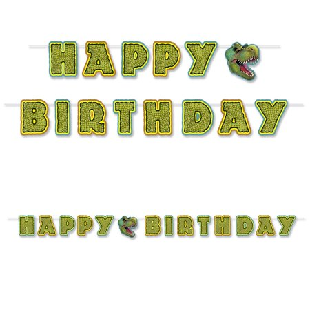 "Club Pack of 12 Decorative Green Dinosaur ""Happy Birthday"" Banner 10'"
