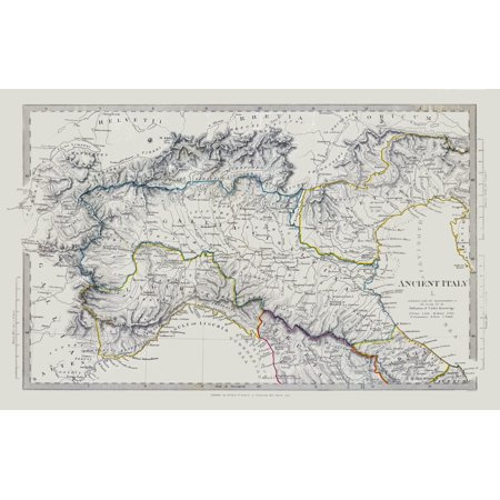 Map Of Ancient Italy Regions.International Map Northern Ancient Italy Society 1830 35 72 X