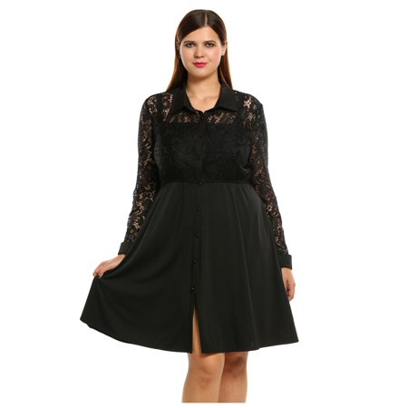 9ca576ce5da3 New Women Casual Turn-down Collar Long Sleeve Lace Patchwork Plus Size  Hollow Out Dress HITC - Walmart.com