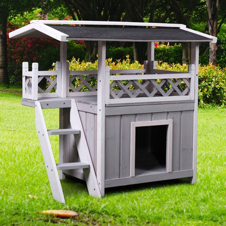 Dog House Outdoor Shelter Roof Cat Condo Wood Steps Balcony Puppy Stairs