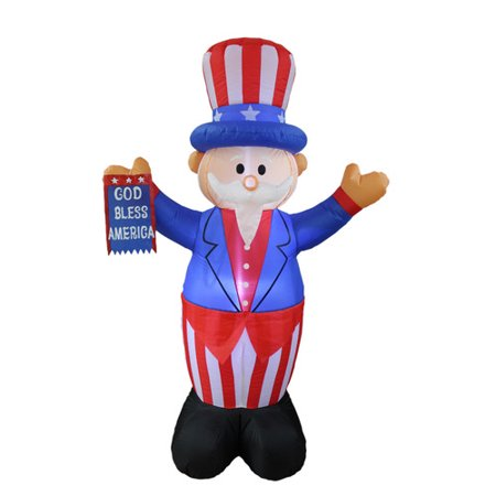 BZB Goods Patriotic American Independence Day Inflatable Uncle Sam with God Bless America Flag Yard - 4th July Decorations