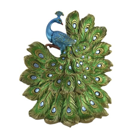 Blue Green and Gold Peacock On Display Statue