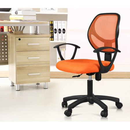 Yaheetech Adjule Swivel Computer Desk Chair Fabric Mesh Office With Arms Seating Back Rest Orange