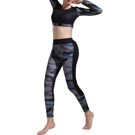 54fca7d7a HIMONE - Women Yoga Camouflage Fitness Exercise Long Sleeve Crop Tops +Pants  Leggings Set Gym Workout Sports Wear Suits - Walmart.com
