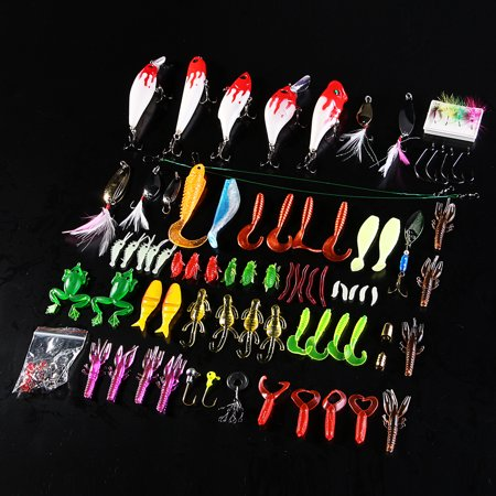100 PCS Fishing Lures Kit Fishing tackle box Lures Crank baits Hooks Minnow Bass Baits Tackle+Box thumbnail