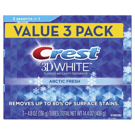 Crest 3D White Whitening Toothpaste, Arctic Fresh, Icy Cool Mint Flavor, 4.8 oz, Pack of -