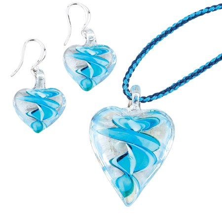 Women's Blue Hand-Crafted Glass Heart-Shaped Jewelry Set - Includes Pair of Earrings and Necklace