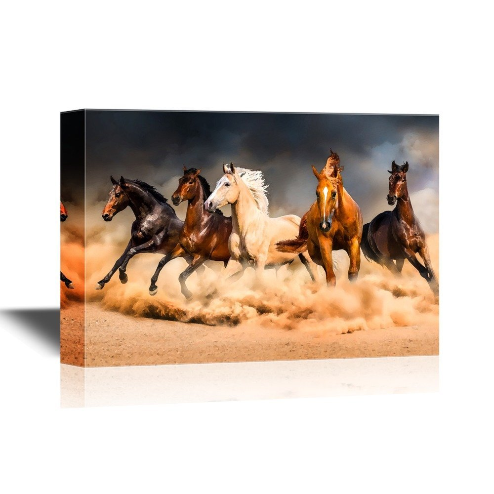 wall26 Canvas Wall Art - Five Running Horses - Gallery Wrap Modern Home Decor | Ready to Hang - 12x18 inches