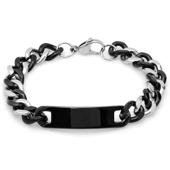 Mens 8 In. Two Tone ?cuban Bracelet In Metallic