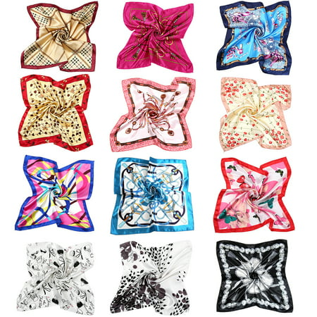 Womens Satin Scarf-Womens 12 Mixed Designs 19.7 inch Square Satin Womens Fashionable Neck Head Scarf Scarves Bundle Lot Set 50x50cm