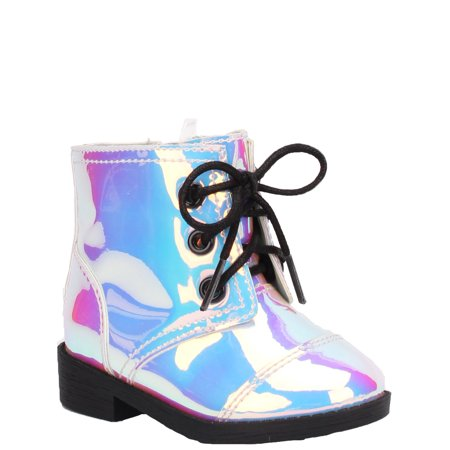 Wonder Nation Iridescent Shine Moto Bootie (Infant Girls)