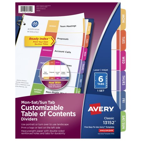 Avery Customizable Table of Contents Dividers, Ready Index Printable Section Titles, 6 Preprinted Mon-Sat/Sun Multicolor Tabs, 1 Set (13152)