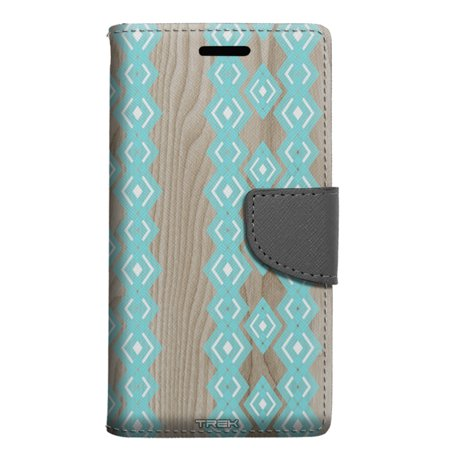 Alcatel Pop 4 Wallet Case - Turquoise Diamond Pattern on Wood Case