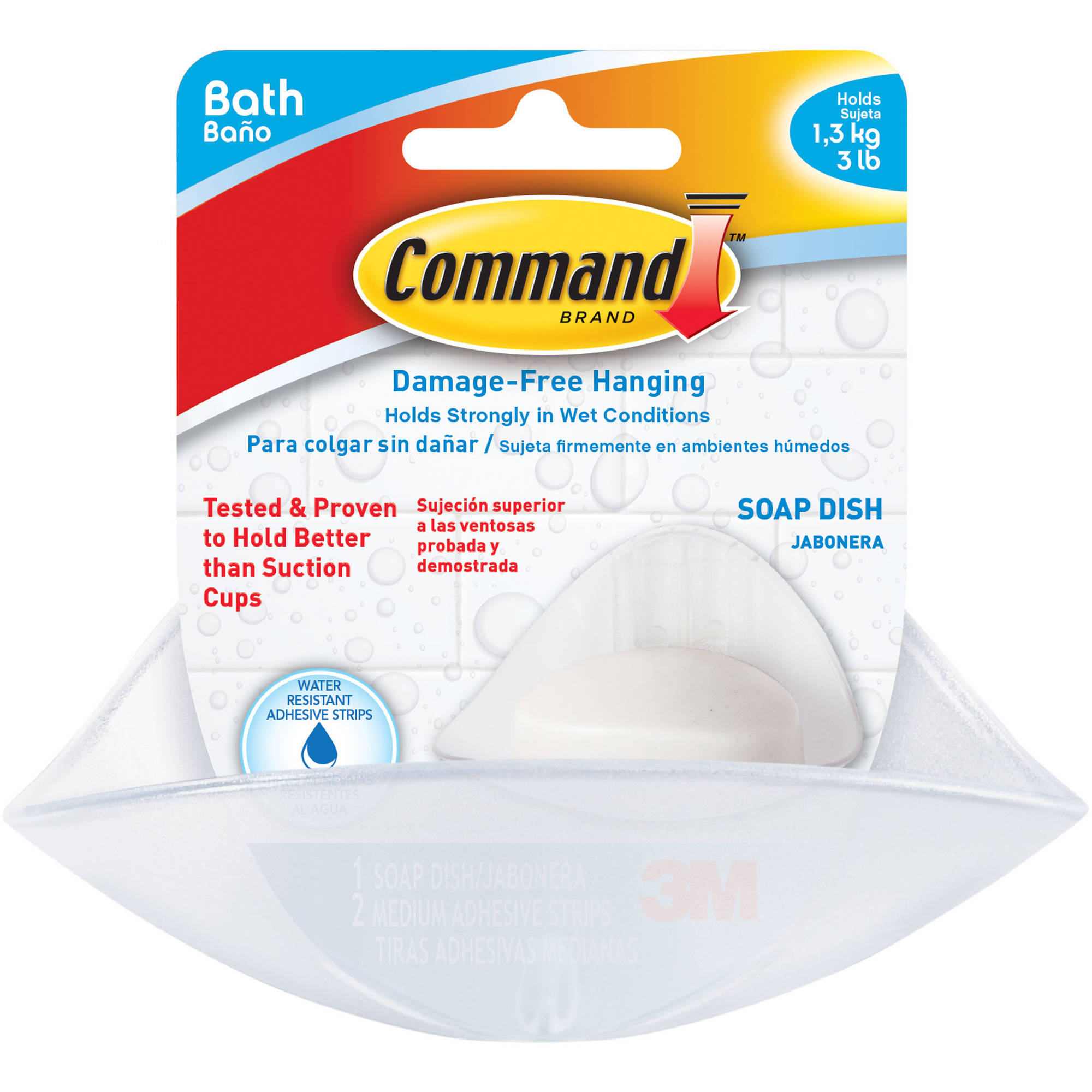 Command Soap Dish, White, 1 Dish, 2 Mounting Bases, 2 Medium Strips, BATH-14
