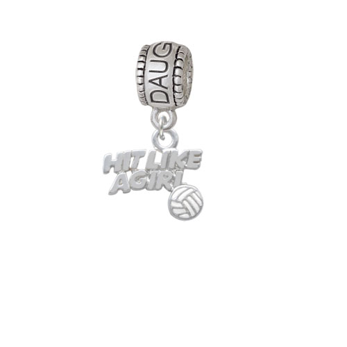 Hit Like a Girl with Enamel Volleyball - Daughter Charm Bead