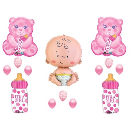 It's A Girl Teddy Bear Baby Bottle Shower Balloons Decoration - Bear Balloon