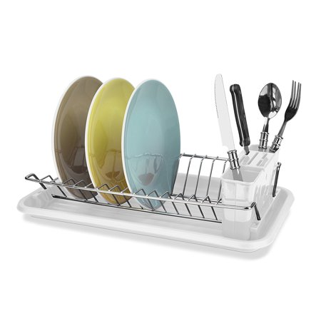 Home Basics Clear Compact Steel Dish Drainer Drying Rack