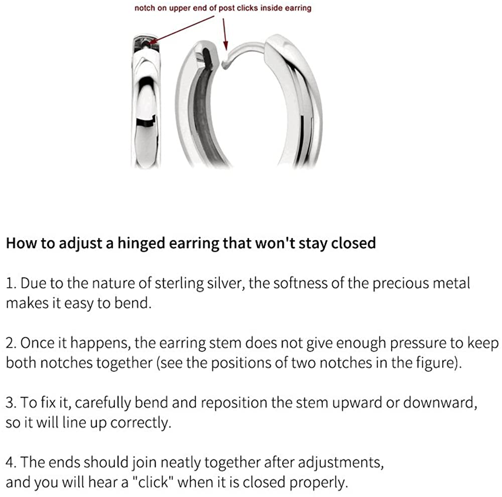 Carleen Sterling Silver Channel Setting Princess Cut Sparkling CZ Cubic Zirconia Simulated Diamond Click-top Medium Huggie Hoop Earrings Fine Jewelry For Women Girls Diameter 15//20mm Thick 3//4mm