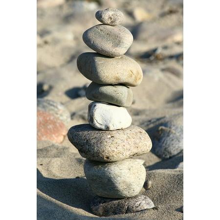 Canvas Print Sand Fun Stones Sculpture Beach Play Coast Stretched Canvas 10 x 14