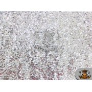 """Sequin Spider Micro Disc SILVER Fabric / 52"""" Wide / Sold by the yard"""