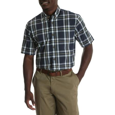 Big Men's Short Sleeve Wrinkle Resist Plaid - Plaid Big Shirt