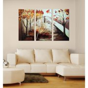 The Lighting Store 'A Walk in the Rain' Hand-painted Canvas Art Set
