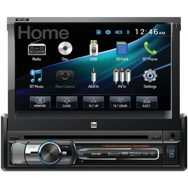 Dual DV516BT 7 inch Single-DIN In-Dash DVD Receiver with Motorized Touchscreen & Built-in Bluetooth