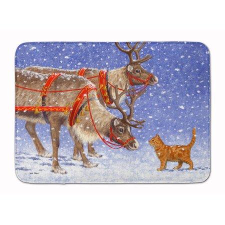 Reindeer & Cat Machine Washable Memory Foam Mat