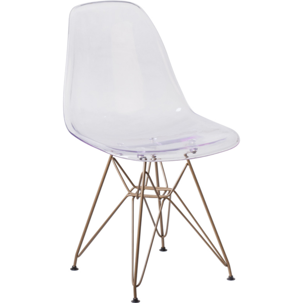 Flash Furniture Elon Series Chair With Gold Metal Base In Clear