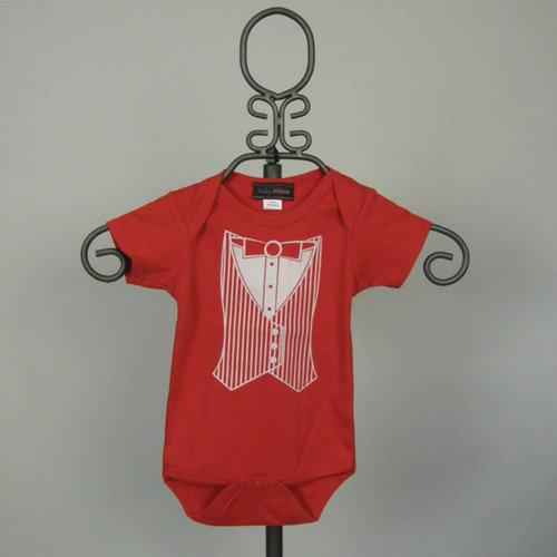Baby Milano Short Sleeve Infant Bodysuit in Red Tuxedo