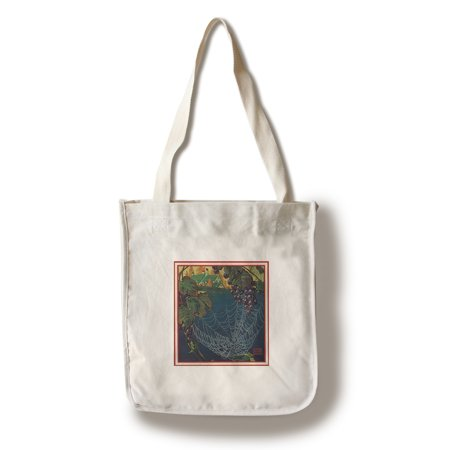 Nature Magazine - View of a Bunch of Grapes with a Spider Web (100% Cotton Tote Bag - Reusable)