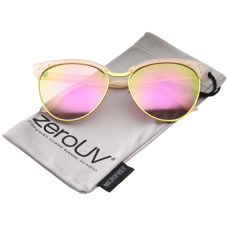 zeroUV - Women's Oversize Half-Frame Colored Mirror Lens Cat Eye Sunglasses 58mm - 58mm