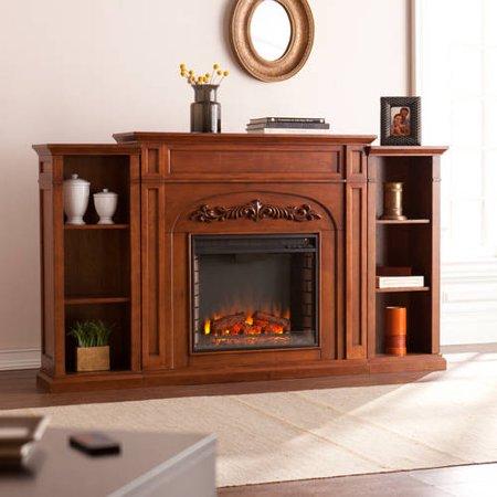 Oak Electric Fireplace Cabinet Mantel - Lydia Electric Fireplace w/Bookcases, Autumn Oak