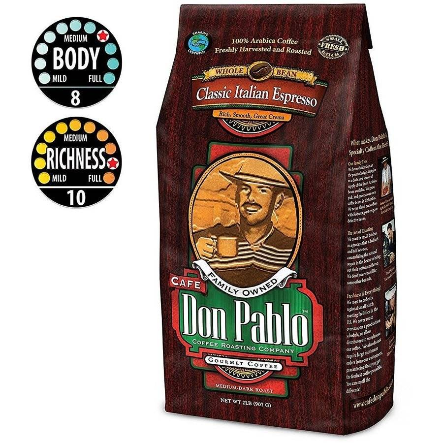 2LB Cafe Don Pablo Gourmet Coffee Italian Espresso - Dark Roast - Whole Bean Coffee - 100% Arabica, 2 Pound