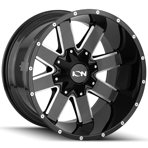 "20"" Inch Ion 141 20x9 6x135/6x139.7(6x5.5"") +18mm Black/Milled Wheel Rim"