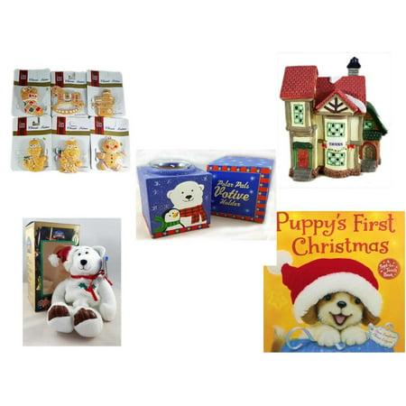 "Christmas Fun Gift Bundle [5 Piece] - Brite Star Classic Trims Shortbread Cookie Ornament Set 6 -  Village ""Tavern"" Lighted Porcelain House - Polar Pals Votive Holder - Limited Treasures  Edition Wh"