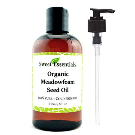 100% Pure Organic Meadowfoam Seed Oil | 8oz | Cold Pressed | For Hair, Skin & Nails | Eyelash Growth | For All Skin & Hair Types | Also Excellent For Mature